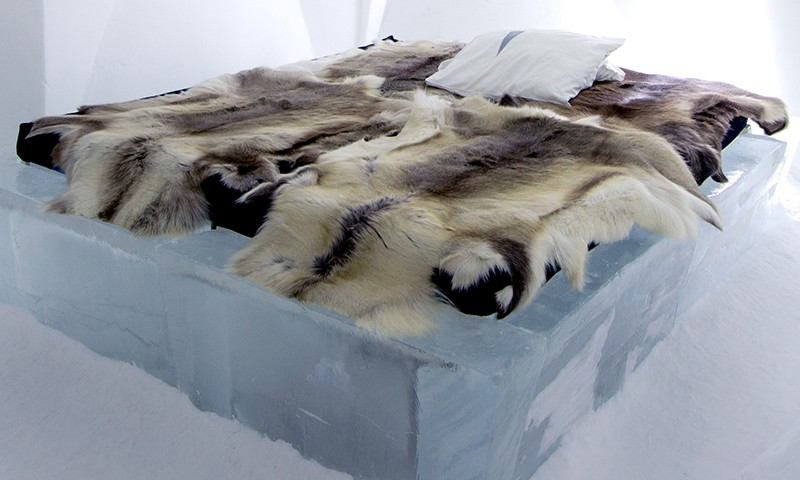 ice hotel bed sweden
